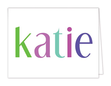 Colorful Name Folded Notecard