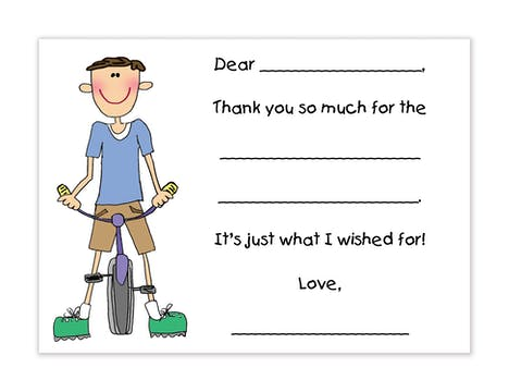 Personalized Character Bicycle Boy Fill-In Notecard