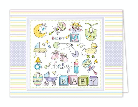 Oh Baby Folded Note - Multi