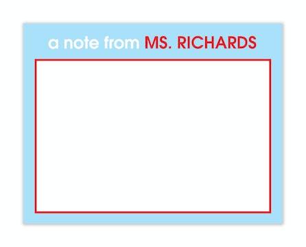 Light Blue & Red Teachers Flat Note