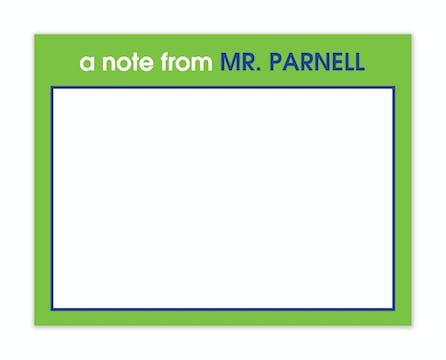 Green & Blue Teachers Flat Note