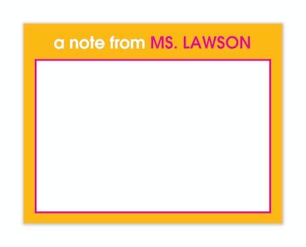 Orange & Hot Pink Teachers Flat Note