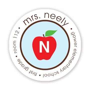Light Blue Teachers Apple Label