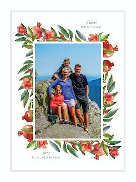 Watercolor Pomegranate Border Photo Card