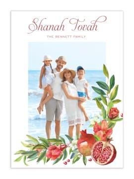 Watercolor Pomegranate Branches Photo Card