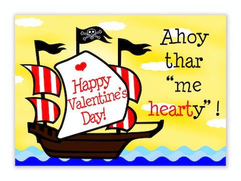 Pirate ship Valentine Cards
