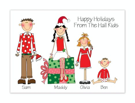 Personalized Character Family Holiday Folded Card