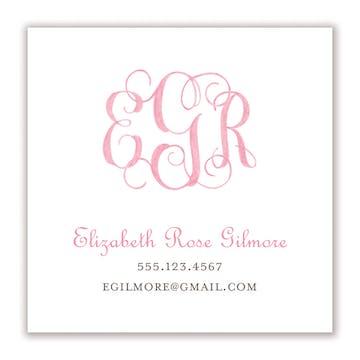 Powdered Monogram - Pink Calling Card
