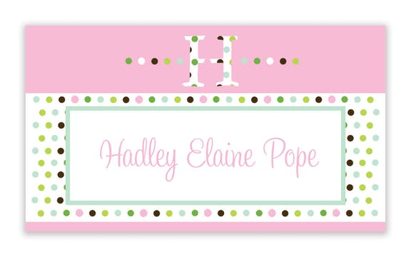 Bubblegum pink dotted initial enclosure card