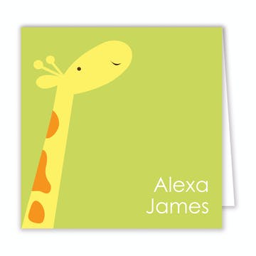 Party Giraffe Folded Calling Card