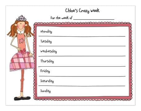 Personalized Character Pink Single Weekly Calendar