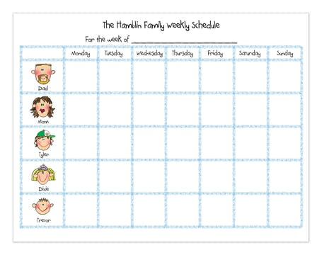 Personalized Character Family Weekly Calendar