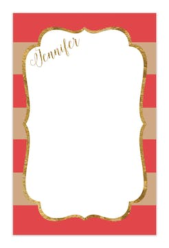 Salmon & Taupe Glitter Frame Notepad