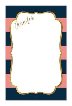 Navy & Pink Glitter Frame Notepad