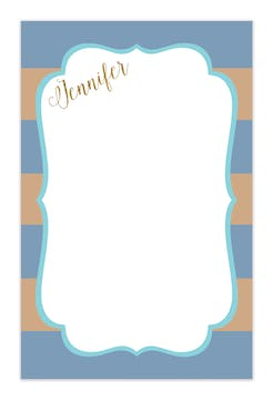 Blue & Taupe Stripes Notepad