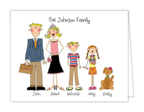 Personalized Character Family Folded Note Card