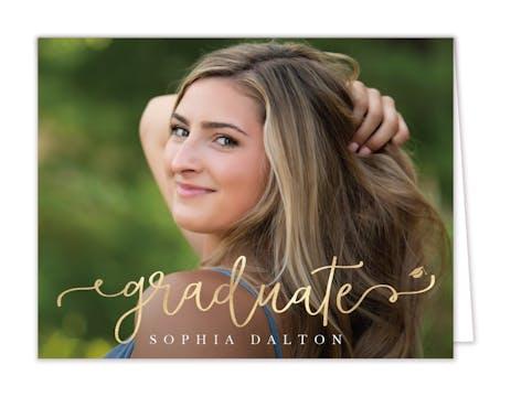 Golden Graduate Photo Folded Note