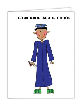 Personalized Character Graduation Boy Folded Note