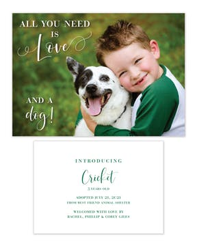 All You Need Is Love and a Dog Photo Announcement