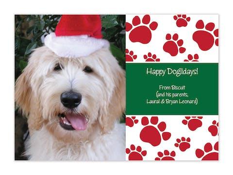 Paw Print Holiday Flat Photo Card