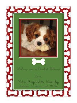 Dog Bone Holiday Flat Photo Card