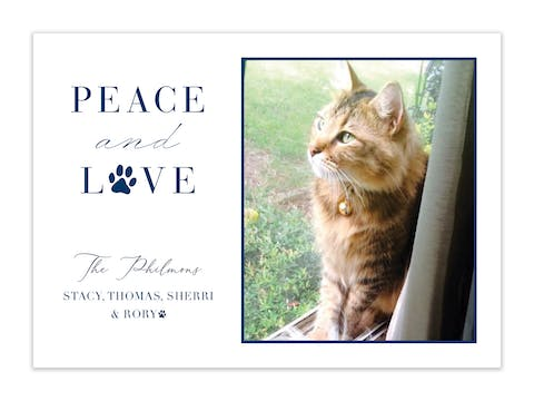 Pet Peace and Love Holiday Photo Card