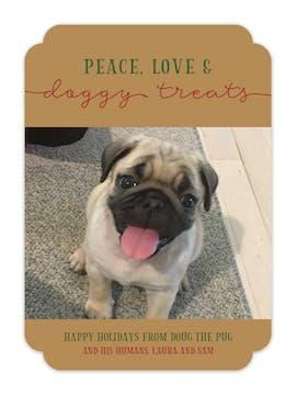 Peace Love and Doggy Treats Holiday Photo Card