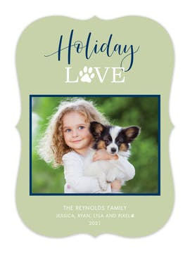 Pet Holiday Love Holiday Photo Card