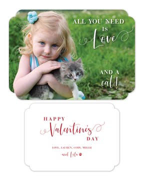 All You Need Is Love and a Cat Photo Valentine