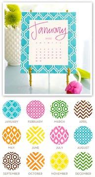 Painted Pattern 2022 Desk Calendar & Easel