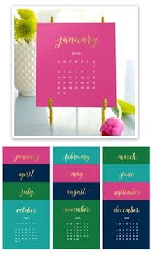 Bright Colors 2022 Foil Pressed Desk Calendar & Easel