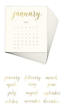 Solid Cream 2022 Foil Pressed Desk Calendar Refill