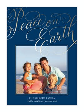 Scripted Peace on Earth Holiday Photo Card