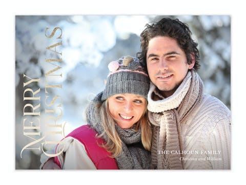 Stacked Merry Christmas Holiday Photo Card