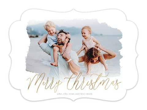 Washed Merry Christmas Holiday Photo Card