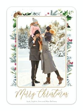Botanical Christmas Foil Pressed Holiday Photo Card