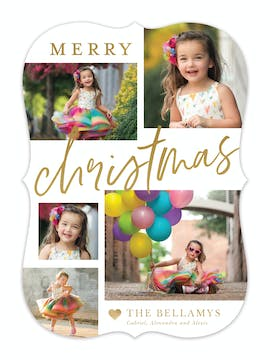 Merry Christmas Collage Foil Pressed Holiday Photo Card