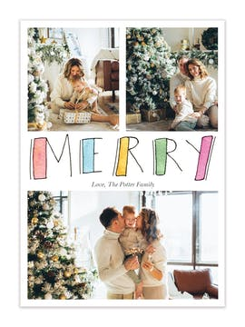 Painted Merry Holiday Photo Card