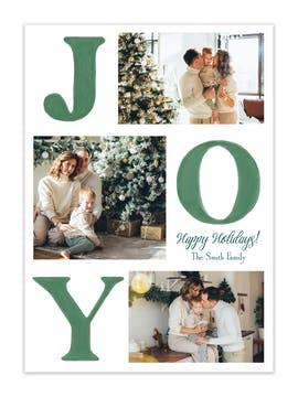Watercolor Joy (Vertical) Holiday Photo Card
