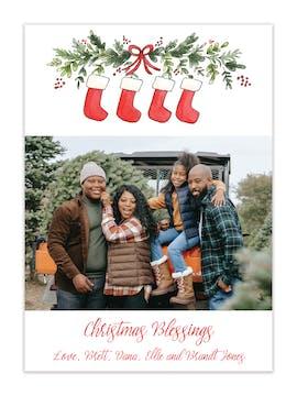 Stockings Garland Holiday Photo Card
