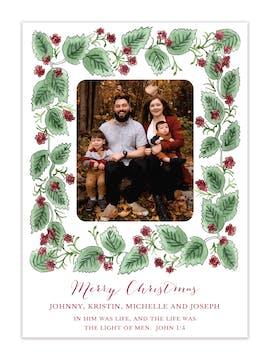 Berry Border Holiday Photo Card