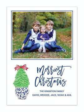 Navy Christmas Holiday Photo Card