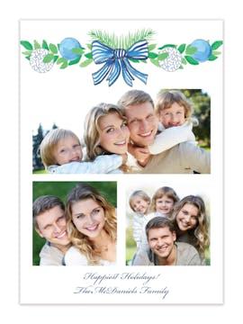 Blue Garland Holiday Photo Card