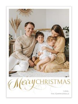 Elegant Christmas Foil Pressed Holiday Photo Card