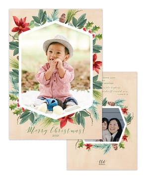 Fashioned Foliage Holiday Photo Card
