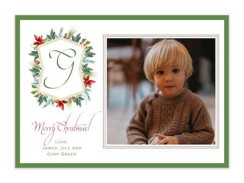 Foliage Crest Holiday Photo Card