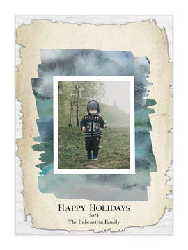 Watercolor Canvas Holiday Photo Card