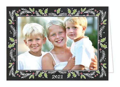 Chalkboard Christmas Border Print & Apply Holiday Folded Photo Card