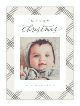 Subtle Plaid Holiday Photo Card