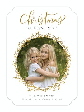Wreath of Joy Foil Pressed Holiday Photo Card